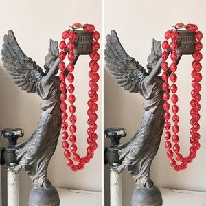 1950s Vintage Hong Kong Double Red Bead Necklace